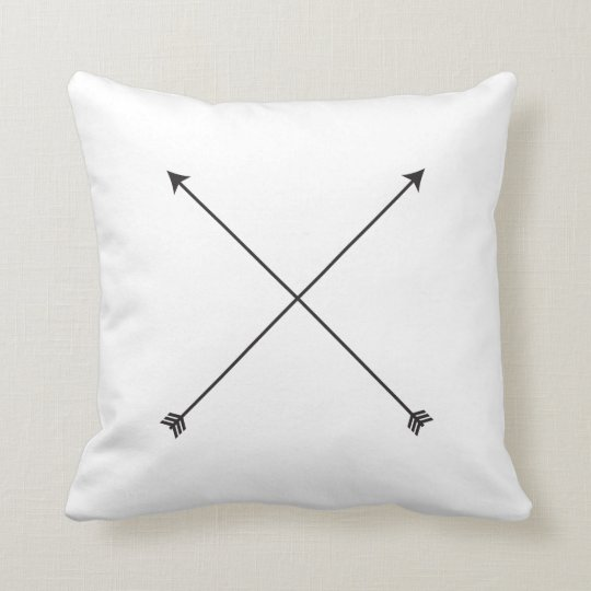 Arrow Modern Black and White Tribal Minimal Throw Pillow