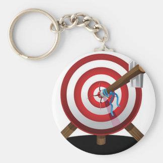 Arrow on target design basic round button keychain