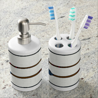 Arrow Pattern Bathroom Decor Soap Dispenser And Toothbrush Holder