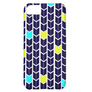Arrow Pattern Navy Blue Yellow White Turquoise iPhone 5C Cases