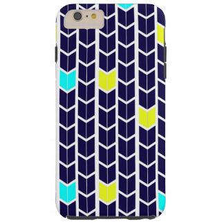 Arrow Pattern Navy Blue Yellow White Turquoise Tough iPhone 6 Plus Case