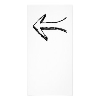 Arrow Pointing to the Left. Black. Customized Photo Card