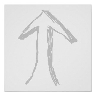 Arrow Pointing Up. Gray on White. Poster