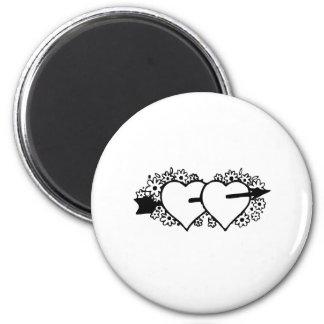 Arrow through Hearts Magnets