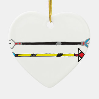 Arrows Ceramic Heart Ornament