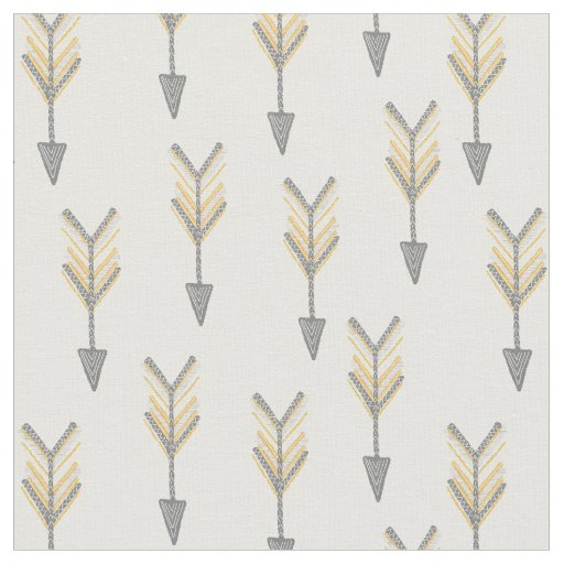 Arrows grey and yellow fabric