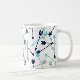 Arrows Scattered / Navy Mint Grey / Andrea Lauren Coffee Mug