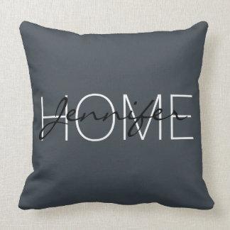 Arsenic colour home monogram throw pillow