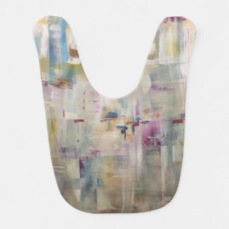 Arsty Bib with pink and blue. Flower Garden