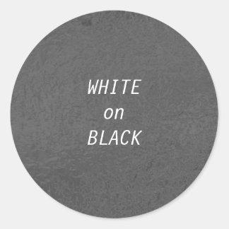 Art101 BNW Circles n Text Samples - White on Black Round Sticker
