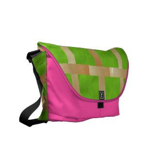 Art101 Light Green Checks n Pink base Commuter Bags