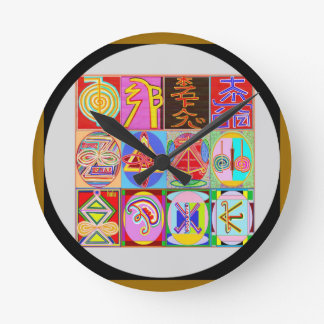 Art101 Reiki n Karuna Healing Symbol Collection Round Clock