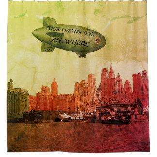 ART 1930'S BLIMP NEW YORK CITY SKYLINE  YOUR TEXT