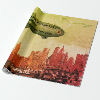 ART 1930'S BLIMP NEW YORK CITY SKYLINE  YOUR TEXT WRAPPING PAPER
