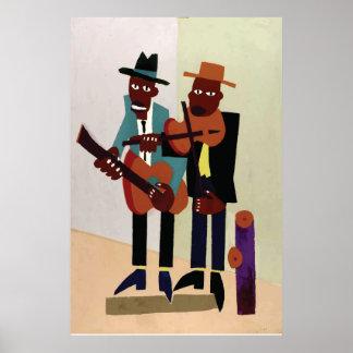 Art américain vintage de ~ de musiciens de rue poster