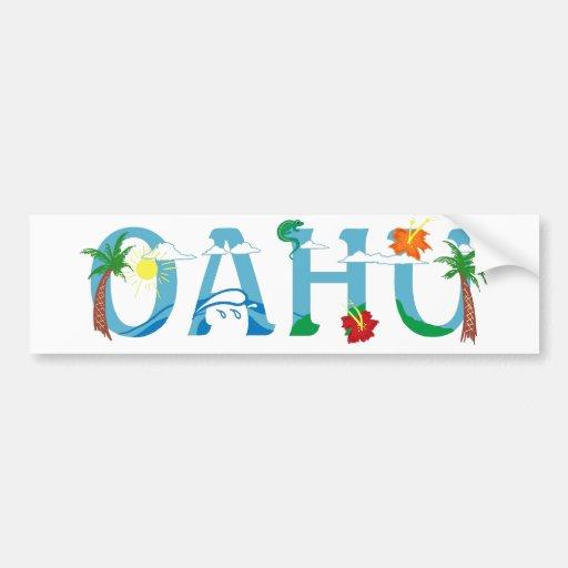Art artistique de mot d'Oahu Hawaï Autocollant Pour Voiture