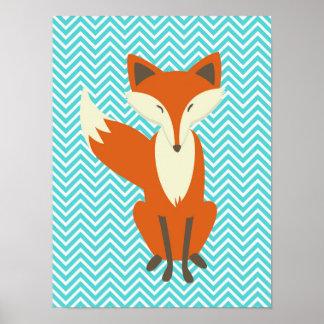 Art astucieux bleu de crèche de Fox de Chevron Poster