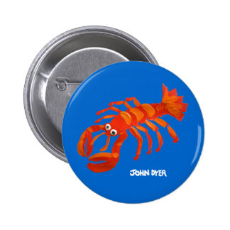 Art Badge Button: Cornish Lobster 2 Inch Round Button