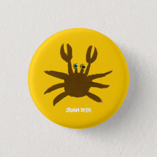 Art Badge Button: John Dyer Crazy Beach Crab 1 Inch Round Button