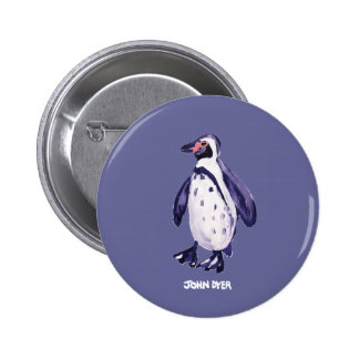 Art Badge Button: John Dyer Purple Penguin 2 Inch Round Button