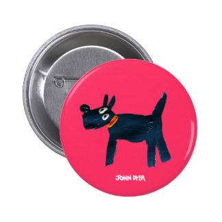 Art Badge Button: John Dyer Scotty Dog, Bella 2 Inch Round Button