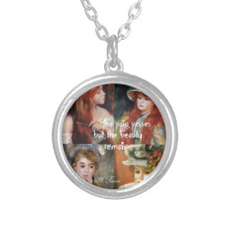 Art ,beauty and love in Renoir paintings Silver Plated Necklace