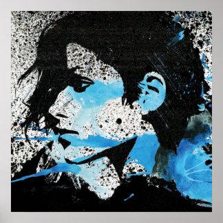 Art blanc abstrait d'aquarelle de fille de noir bl poster