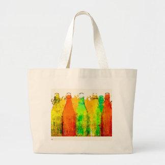 Art_Bottles Green Orange Large Tote Bag