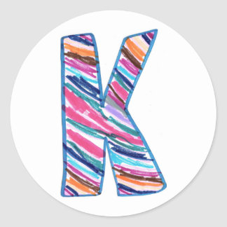 Art by Kaleb Colorful Letter K Circle Sticker