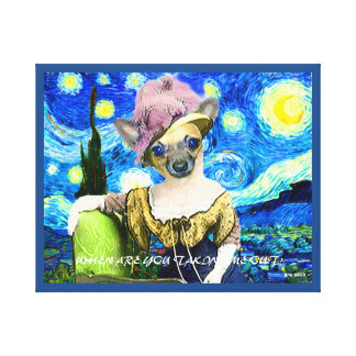 ART CANVAS DOLLED UP CHIHUAHUA