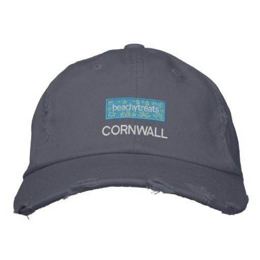 Art Cap: Cool Beachy Treats Badge. Cornwall Embroidered Baseball Caps