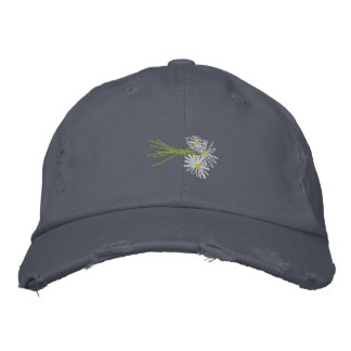 Art Cap: Flower Bunch. White Daisies Scruffy Blue Baseball Cap