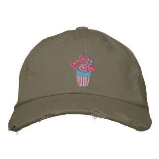 Art Cap: Pink Pansies in a Pot Embroidered Baseball Cap