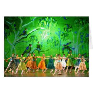 Art Card: Emerald Parrots. Ballet Menton. Greeting Card