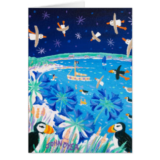 Art Card: Scilly Puffins and Gulls, Pentle Bay Card