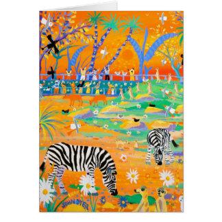Art Card: Stripy Safari Sunset at the Zoo. Zebras Card