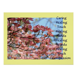 Art Caring Healing Touch Hands Word Prints Framed Poster