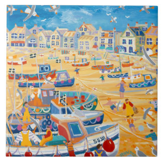 Art Ceramic Tile: John Dyer Boats & Ropes, St Ives Tile