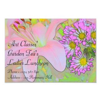 "Art Classes Ladies Luncheon Garden Tea's 3.5"" X 5"" Invitation Card"