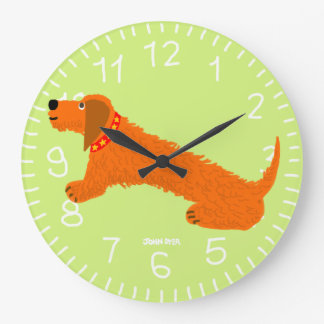 Art Clock: John Dyer Sausage Dog Lime