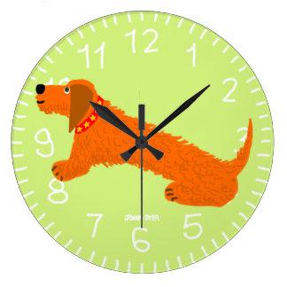 Art Clock: John Dyer Sausage Dog Lime Wallclocks