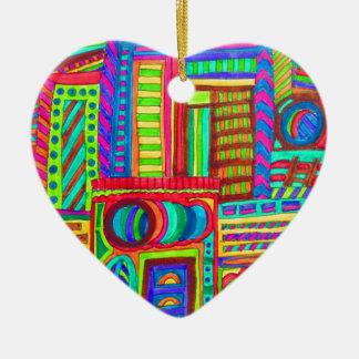 ART COLOR CITY CERAMIC HEART ORNAMENT