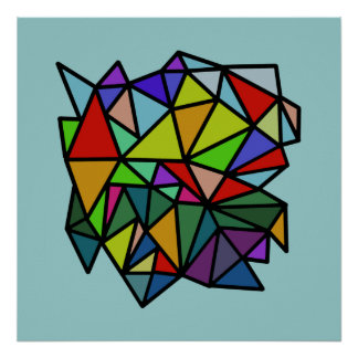 art colorful geometric triangles poster