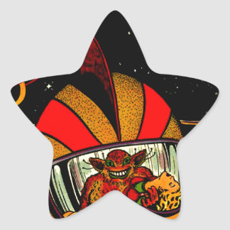 Art comique d'astronaute de la science fiction sticker étoile