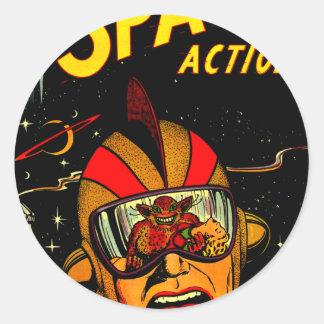 Art comique d'astronaute de la science fiction sticker rond