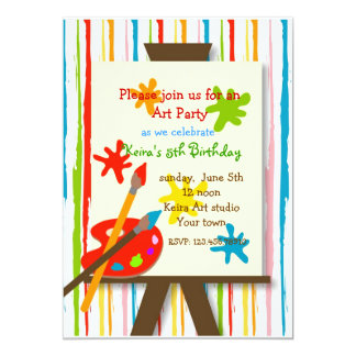 Art Crafts Painting Birthday Party Invitations