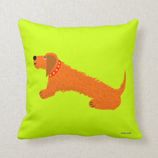 Art Cushion. Dachsund Dog in Lime by John Dyer Throw Pillow