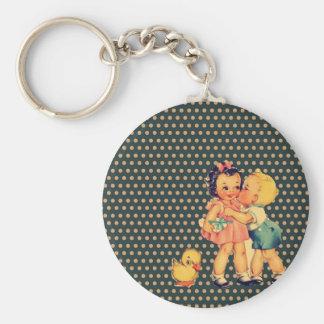 art cute retro children vintage school kids basic round button keychain