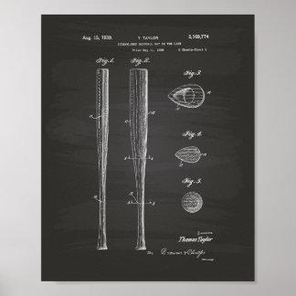 Art de brevet de la batte de baseball 1939 - poster
