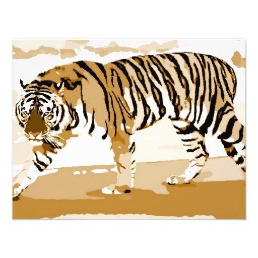 Art de bruit de marche de tigre cartons d'invitation